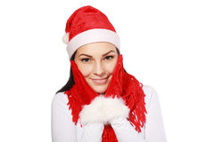 Santa woman happy Royalty Free Stock Photos
