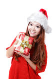 Santa Woman happy holding xmas Gift Royalty Free Stock Photos