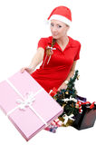 Santa woman helper offering gifts Stock Images