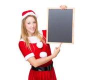 Santa woman hold with blackboard Stock Photos