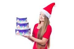 Santa woman holding christmas boxes Royalty Free Stock Photo