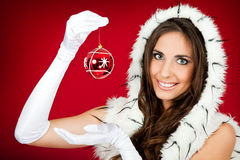 Santa woman  holding Christmas decoration Royalty Free Stock Photo