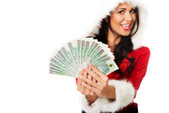 Santa woman holding a clip of polish money Stock Photo