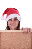 Santa woman holding frame with copyspace Royalty Free Stock Photos