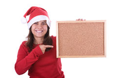 Santa woman holding frame with copyspace Stock Images