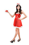 Santa woman  holding a gift box Stock Photography