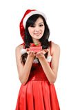 Santa woman  holding a gift box Royalty Free Stock Photography