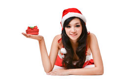 Santa woman  holding a gift box Stock Photo