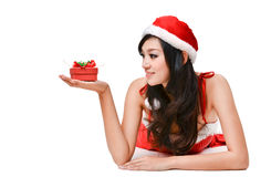 Santa woman  holding a gift box Stock Image