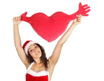 Santa woman holding  heart shape Royalty Free Stock Image