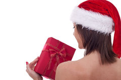 Santa woman holding a present Stock Image