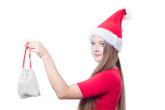 Santa woman holding a present Royalty Free Stock Image