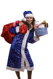 Santa woman is holding red sack with gifts. Stock Images