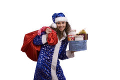 Santa woman is holding red sack with gifts. Royalty Free Stock Photo
