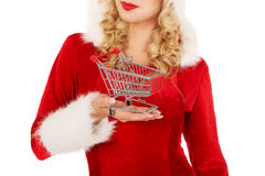 Santa woman holding a small trolley Royalty Free Stock Images