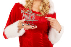 Santa woman holding a small trolley Stock Image