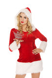 Santa woman holding a small trolley Stock Photography