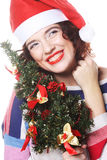 Santa woman holding tree Stock Image