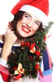 Santa woman holding tree Stock Images