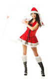 Santa woman holding white empty banner on the right Royalty Free Stock Images