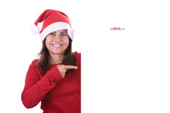 Santa woman holding white frame with copyspace Stock Images