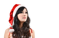 Santa woman Isolated on white background Stock Images