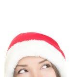 Santa woman looking up Stock Photo