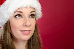 Santa Woman looking up Royalty Free Stock Photos