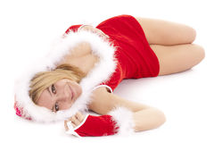 Santa woman lying Royalty Free Stock Image