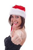 Santa woman making ok Stock Image