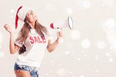 Santa Woman med megafonen Arkivfoto