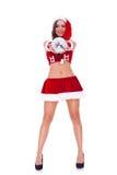 Santa woman offering a disco ball stock image