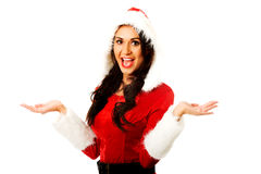 Santa woman with open hands Royalty Free Stock Image