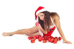 Santa woman and ornament Stock Photos