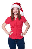 Santa woman over white background Royalty Free Stock Photo