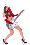Santa woman playing an electric guitar. Full body picture of a santa woman playing an electric guitar over white background stock photo