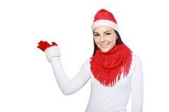 Santa woman pointing Royalty Free Stock Photos