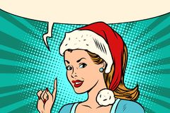 Santa woman pointing finger. Comic book cartoon  retro vector illustration drawing Stock Images