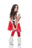 Santa woman posing on white background Royalty Free Stock Photo