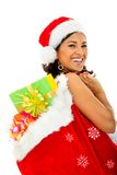Santa woman with presents Stock Image