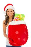 Santa woman with presents Stock Images