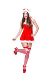 Santa woman in red outfit posing Royalty Free Stock Photos