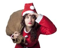Santa Woman Searching Royalty Free Stock Image