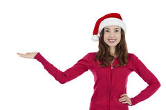 Santa woman showing copy space for product Stock Photos
