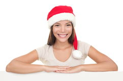 Santa woman sign board Royalty Free Stock Photo