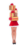 Santa woman with slender legs and golden christmas gifts isolate. Happy Santa woman with slender legs brings pile of christmas gifts in golden fancy boxes Royalty Free Stock Image