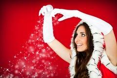 Santa woman and snowflakes Royalty Free Stock Photos