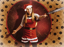 Santa woman spinning christmas music at club Royalty Free Stock Photos