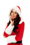 Santa woman touching her chin Stock Photography