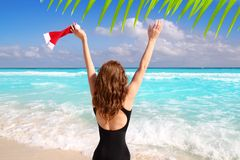 Santa woman tourist christmas caribbean vacation Royalty Free Stock Photos